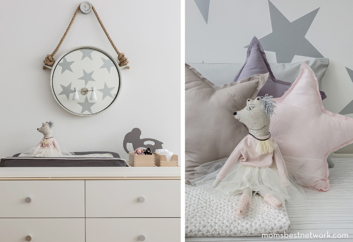 Chic Shared Room Space For A Toddler And Baby Featuring