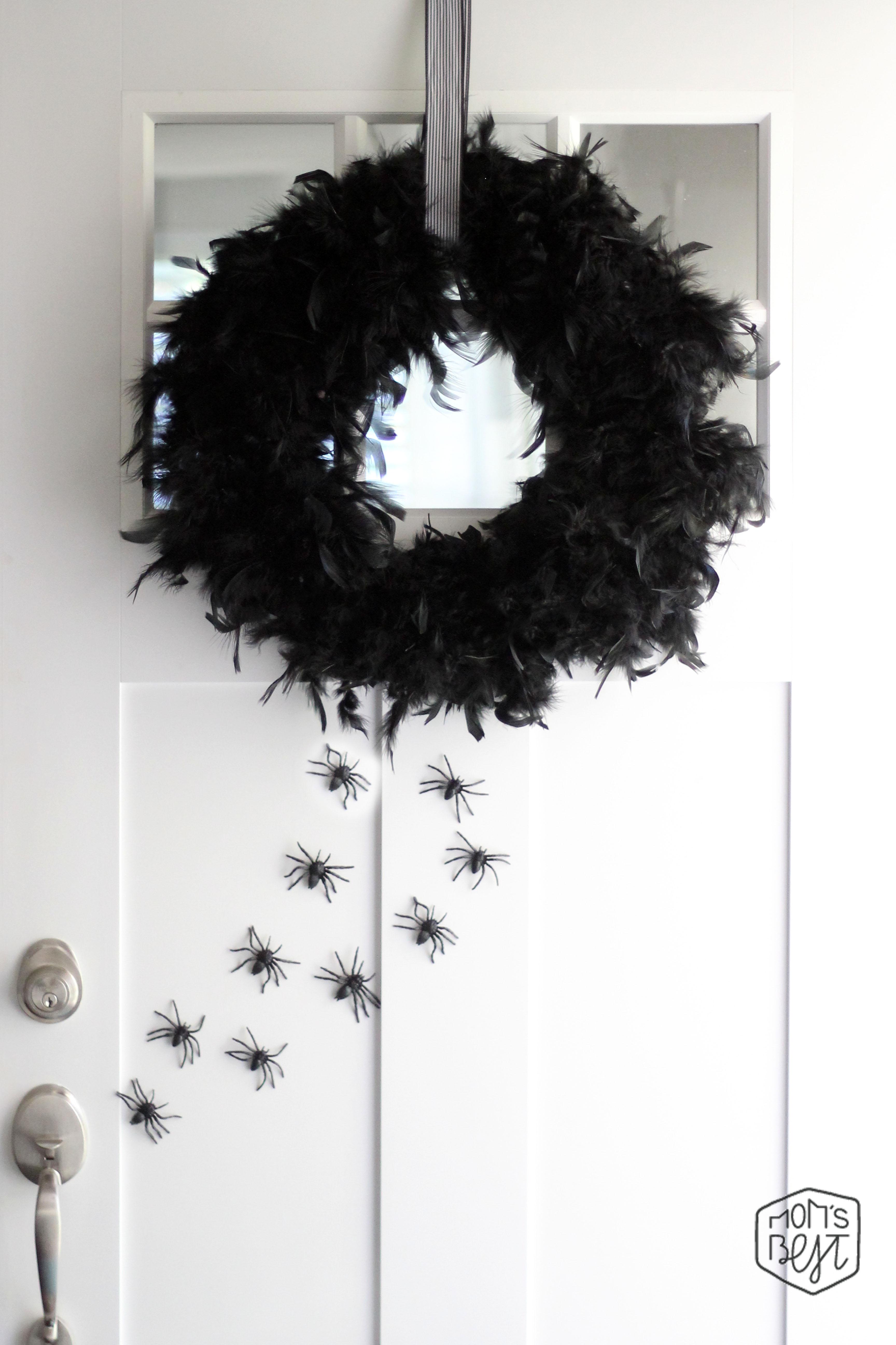 DIY Feather Boa Halloween Wreath