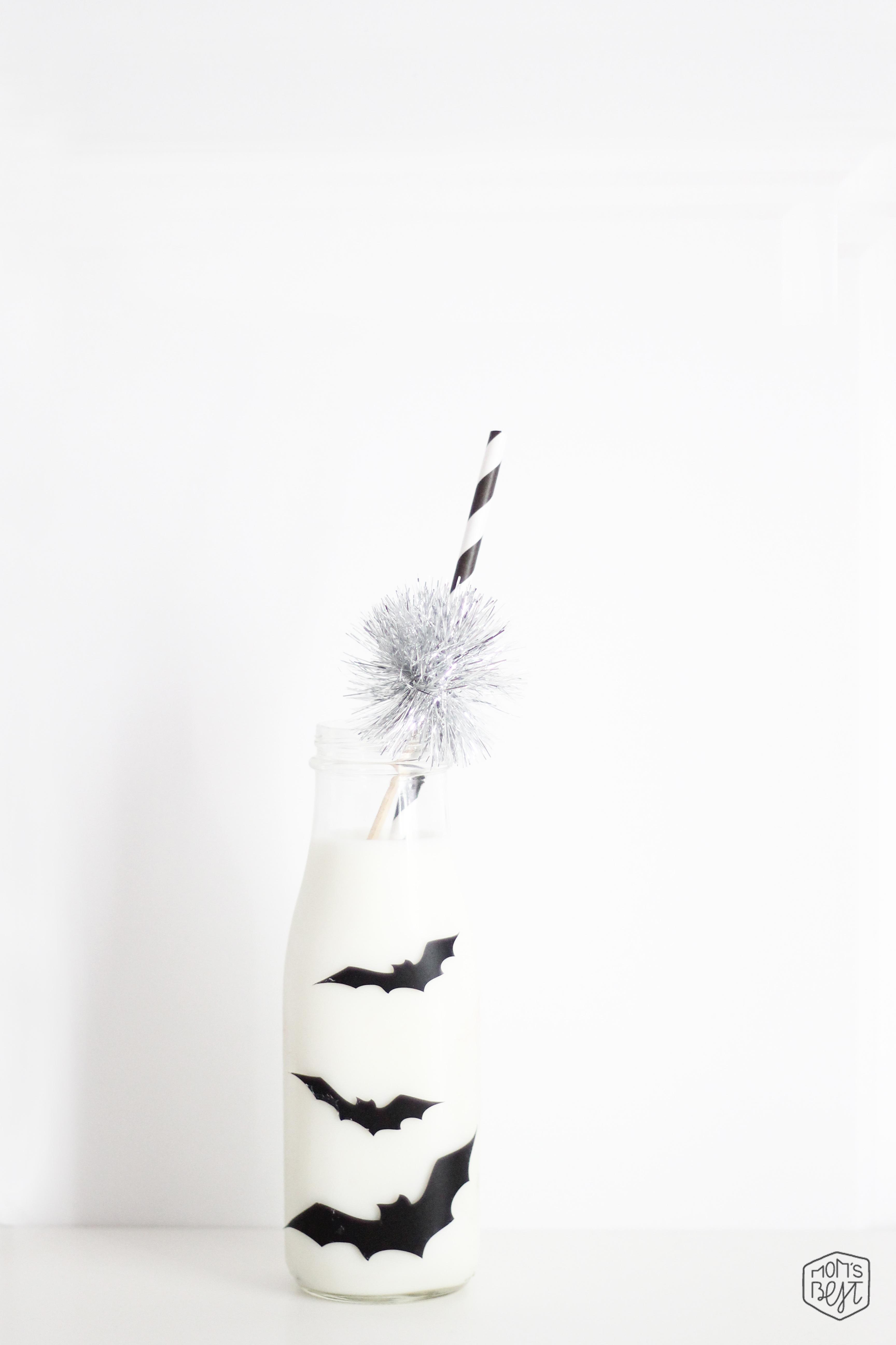 2 Minute DIY Spooky Bat Milk Bottles