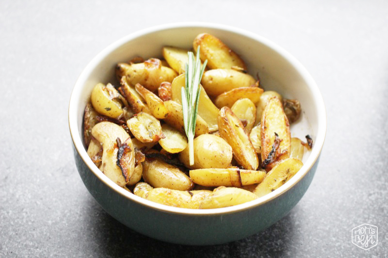 Roasted Fingerling Potatoes with Rosemary and Caramelized Onions